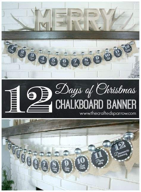 free printable chalkboard banner numbers 12 days of christmas chalkboard banner with free prints