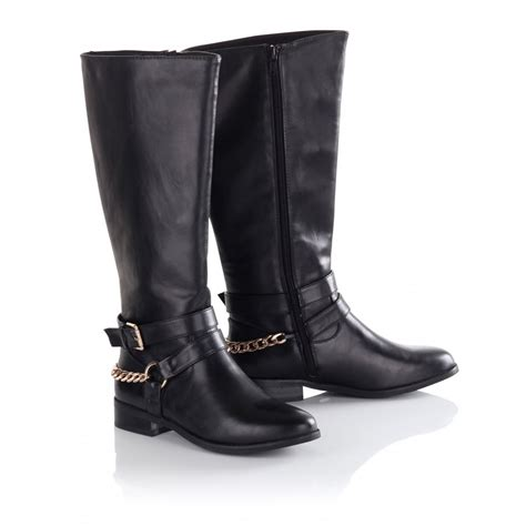 s black gold chain knee high boots