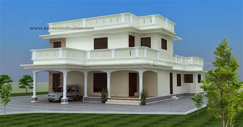 3 bed room flat roof villa with courtyard 2172 sq ft home kerala plans evens construction pvt ltd flat roof villa exterior in 2400 sq