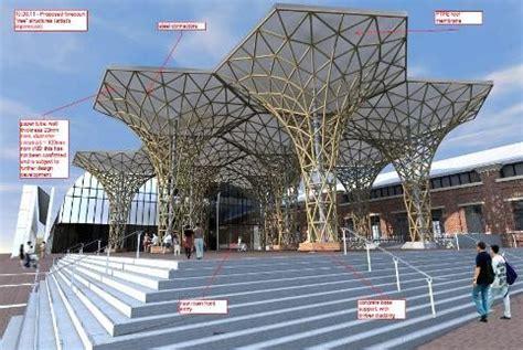 shigeru bans cardboard trees sprouting   powerhouse museum sydney architecture design
