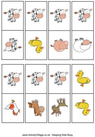 printable animal game pieces farm animal game cards