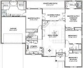 Double Master Bedroom Floor Plans House Plans With Three Master Suites Details About