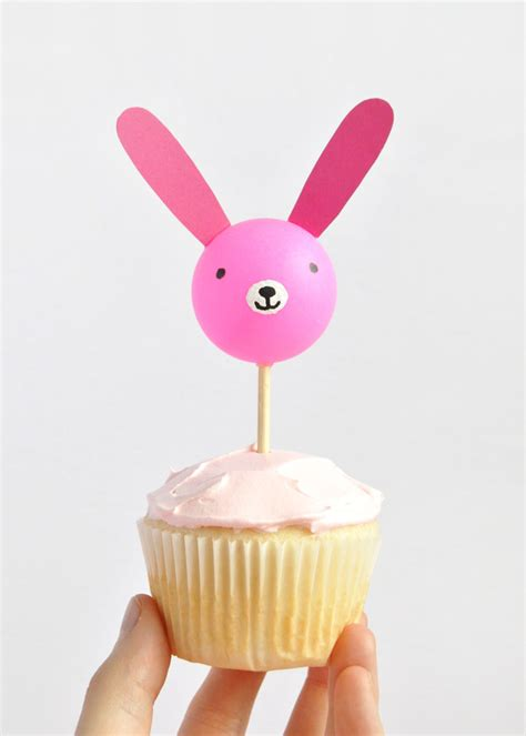 Handmade Cupcake Toppers - ping pong bunny cupcake toppers handmade