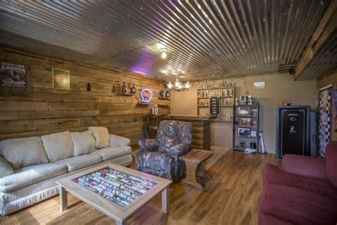 Design Ideas For Galvanized Ceiling Fan Rustic Basement With Hardwood Floors Pendant Light Zillow Digs Zillow