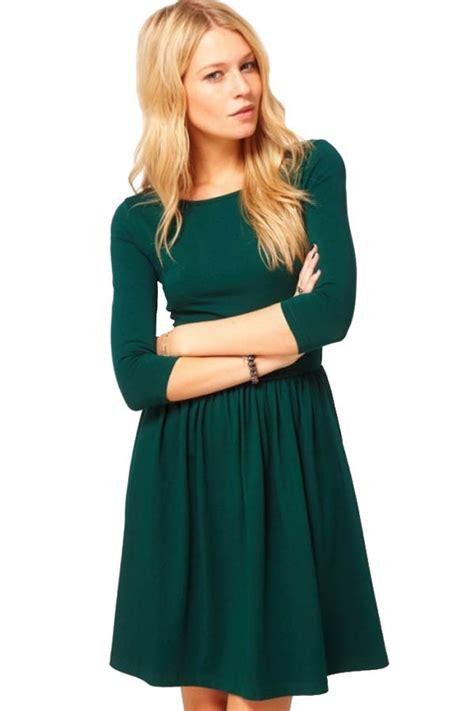 dark green  sleeves simple dress   casual