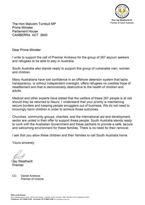 Sle Support Letter For Refugee State Territory Leaders Open Doors To Asylum Seekers Facing Deportation Hack J