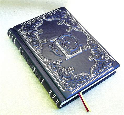 Handmade Cover - leather journal blank book navy blue leather 6 x 9 in