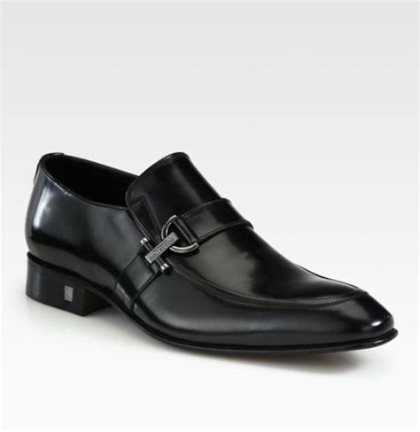 versace leather loafers versace leather loafers in black for lyst