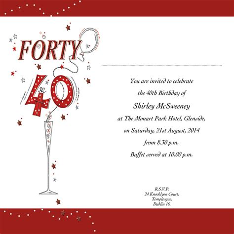exles of 40th birthday invitations occasion card 40 2w 40th birthday wedding invitations accessoroes memoriam cards baby