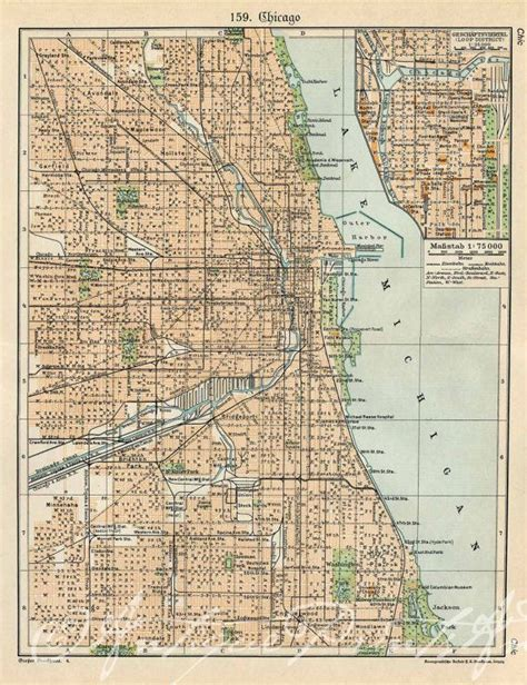 chicago map 1920 antique map of chicago my kinda town illinois 1920s