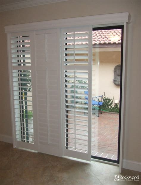 Sliding Plantation Shutters For Patio Doors Plantation Shutters For Sliding Glass Door Traditional Houston By Rockwood Shutters