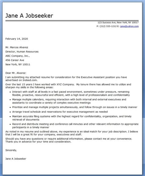 Cover Letter For Executive executive assistant cover letter sles resume downloads