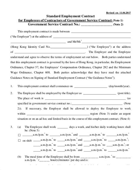 employment contract template word sample employee doc futuristic