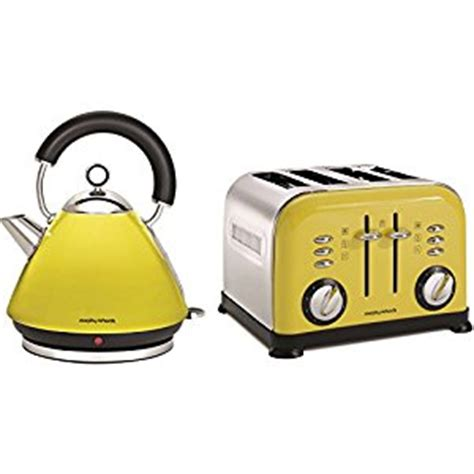 Yellow Kettle And Toaster Sets morphy richards accents yellow stainless steel kettle jug 4 slice toaster set co uk