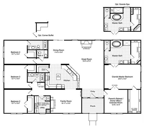 palm harbor mobile home floor plans fantastic hacienda iii vrwd76d3 standard floor plan with