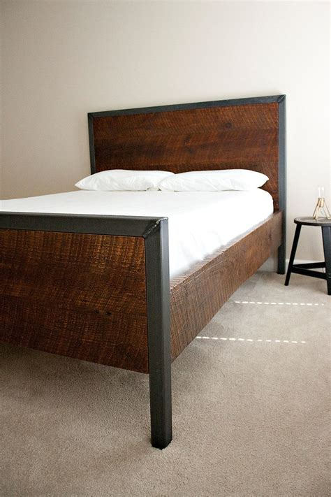 modern king bed reclaimed wood  raw steel dylan