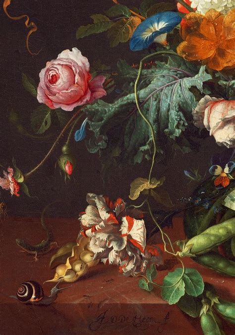 Jan Davidsz De Heem Vase Of Flowers by Jan Davidsz De Heem Detail From Vase Of Flowers 1660