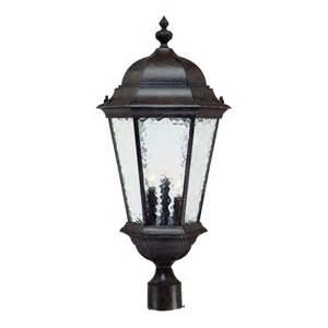 outdoor post mount lighting fixtures acclaim lighting telfair 3 light black coral outdoor post