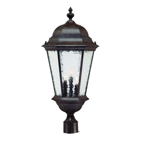 Acclaim Lighting Telfair 3 Light Black Coral Outdoor Post Outdoor Light Fixtures Home Depot