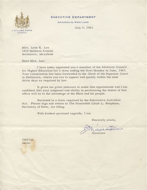 appointment letter committee member tmll the lena collection