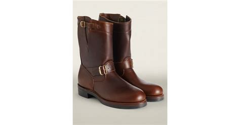 rrl leather engineer boot in brown for lyst