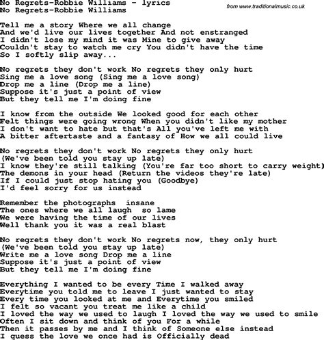my lyrics williams song lyrics for no regrets robbie williams