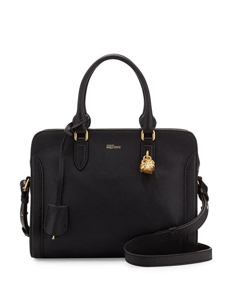 Small Satchel by Mcqueen Small Padlock Satchel Bag In Black Lyst