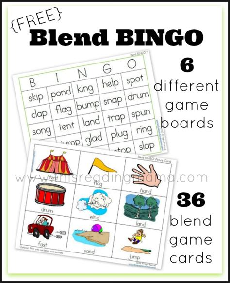 printable literacy word games free blend bingo word game