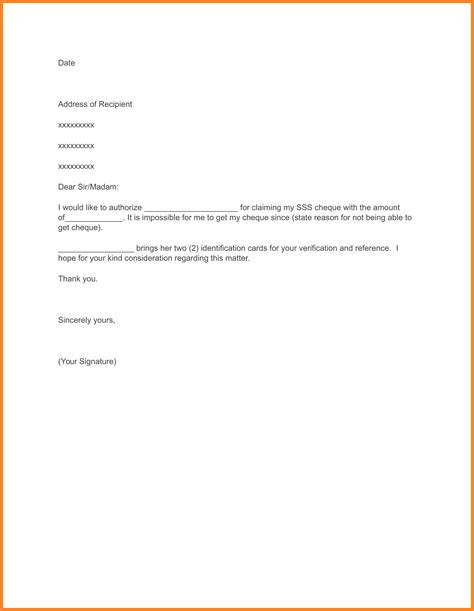 authorization letter format to receive package 6 sle authorization letter to pay bills letter bills