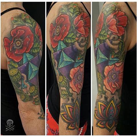 tattoo flower ross geoflower sleeve by zack ross tattoonow