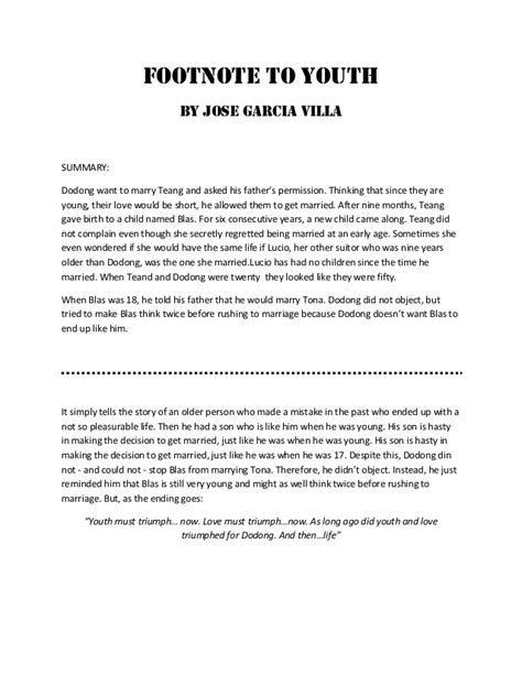 story themes of jose garcia villa footnote to the youth