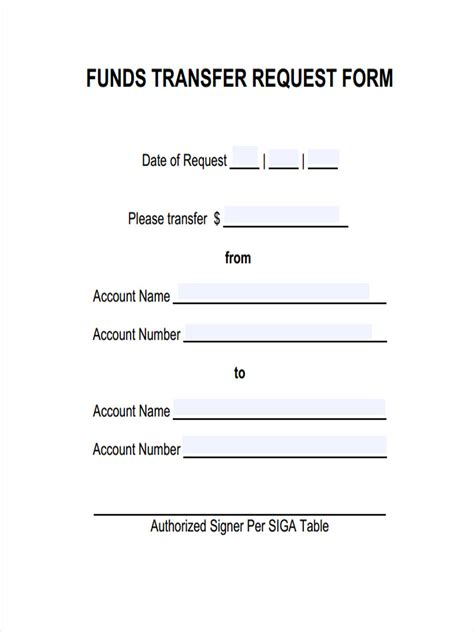 transfer request form 6 fund transfer forms free sle exle format