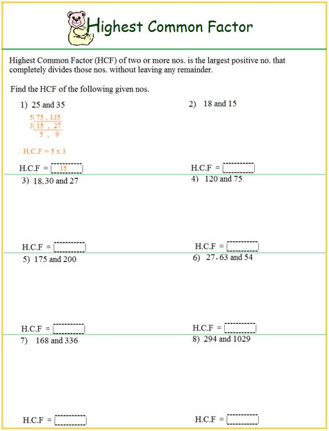 Lcm Worksheets by Worksheet On Hcf
