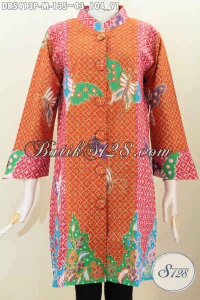 Baju Wanita Ukuran Besar Modis baju dress batik modis pakai kancing besar busana batik