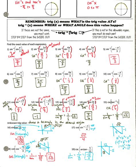Unit Circle Worksheet With Answers by Unit Circle Clip 42