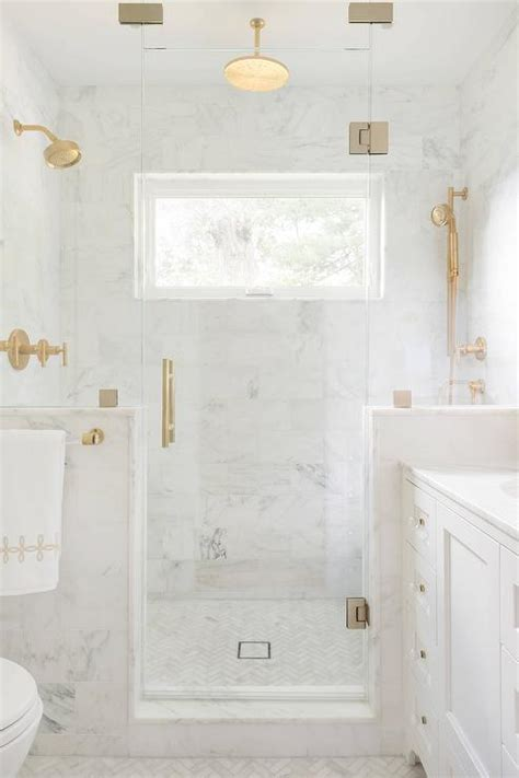 Seamless Glass Shower With Brass Hinges And Brass Door Brass Shower Doors