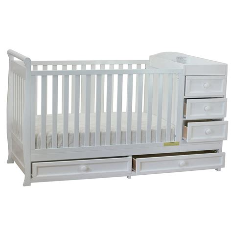 White Convertible Crib With Drawer Afg Furniture Athena 2 In 1 Crib Changer Combo In White 661w New Ebay
