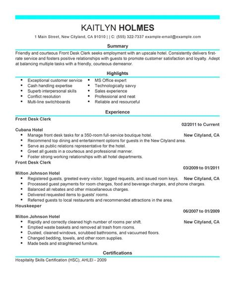 Resume Front Desk Manager Hotel front desk clerk resume exles created by pros