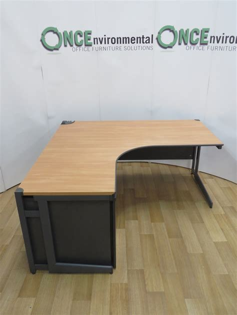 Used Desks Paragon Beech 1600 x 1600 Left Hand Ergonomic