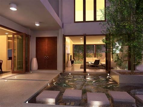 exterior green home courtyard design ideas green trees