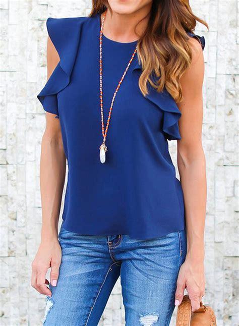 Sleeve Ruffle Chiffon Blouse fashion ruffle sleeve solid chiffon blouse azbro