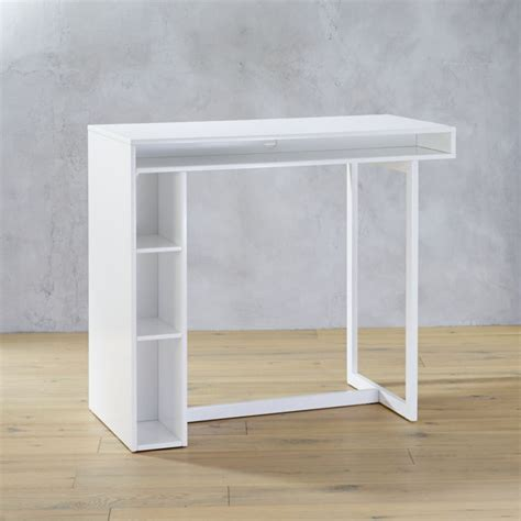 white 42 quot high dining table cb2