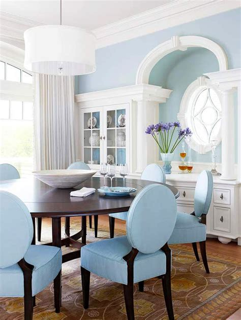 beautiful blue dining rooms and crown moldings on
