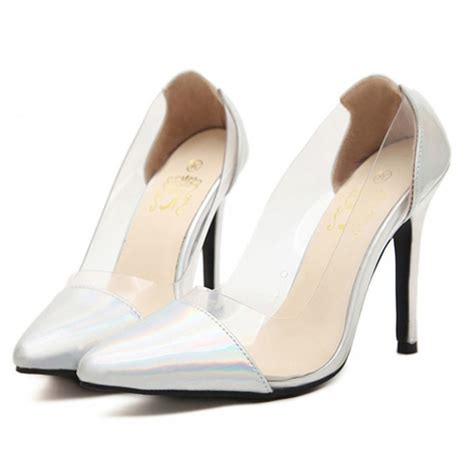 holographic silver clear pvc high heel court shoes