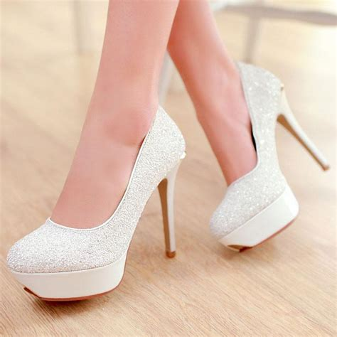 Wedding Shoes Heels White by White Sparkly High Heels 28 Images Velcans Velcans