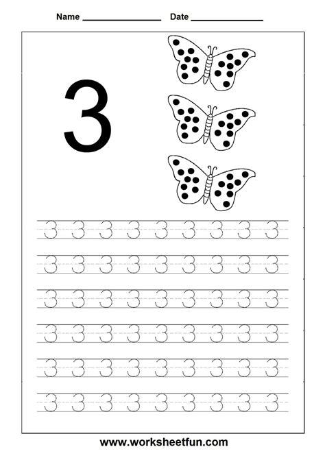 printable tracing number worksheets number tracing 3 school stuff pinterest number tracing