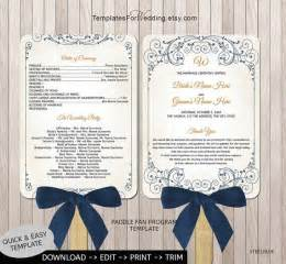 fan invitation template wedding program fan templatediy program by