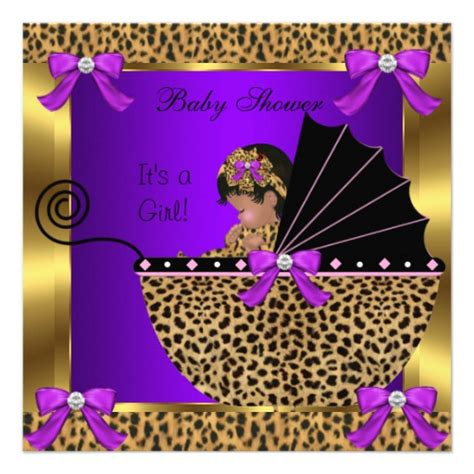 Purple And Gold Baby Shower by Baby Shower Baby Leopard Purple Gold 5 25x5 25