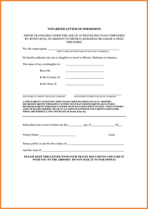 Permission Travel Letter Minors Template