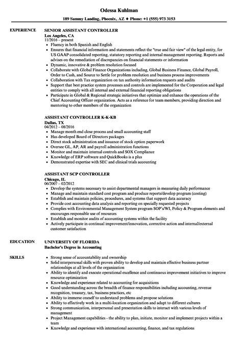 controller assistant resume sles velvet
